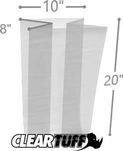 10 x 8 x 20 Gusseted Poly Bags 1.5 Mil