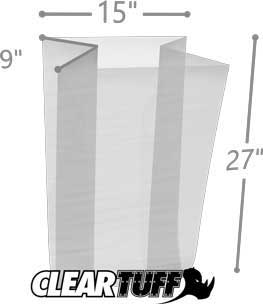 15 x 9 x 27 Gusseted Poly Bags 1.5 Mil