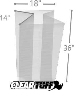 18 x 14 x 36 Gusseted Poly Bags 1.5 Mil