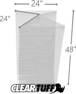 24 x 24 x 48 Gusseted Poly Bags 1.5 Mil