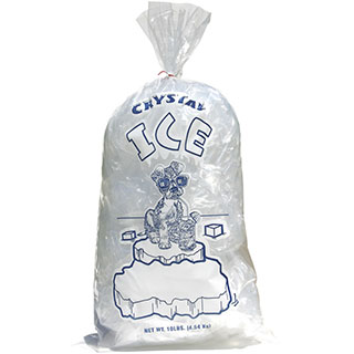 10 lb Plain Top Crystal Ice Plastic Ice Bag Dog