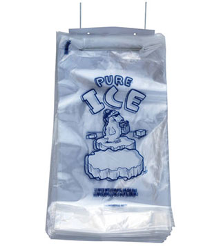 10 lb PURE ICE Ice Bag on Wickets with Polar Bear graphic