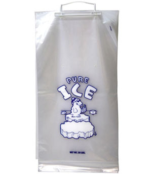 20 lb PURE ICE Ice Bag on Wickets with Polar Bear graphic