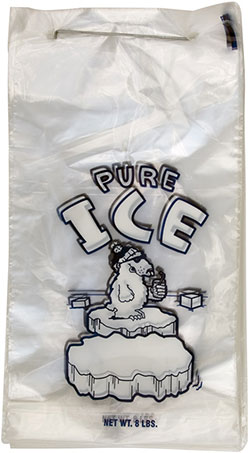 8 lb Wicketed Pure Ice Plastic Ice Bag Polar Bear