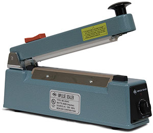 8 inch Impulse Hand Operated Manual Sealer with Built In   Trimmer