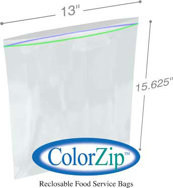 13x15-5/8 2 Gallon Storage Bag 2.7Mil ColorZip Reclosable Food Service MiniGrip