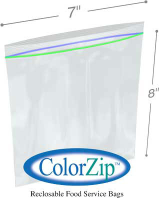 7x8 1 Quart Storage Bag 2.7Mil ColorZip Reclosable Food Service MiniGrip