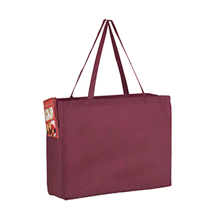 16 x 6 x 12 Burgundy Green Non Woven Over the Shoulder Tote Bag