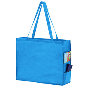 20 x 6 x 16 Cool Blue Non Woven Over the Shoulder Tote Bag