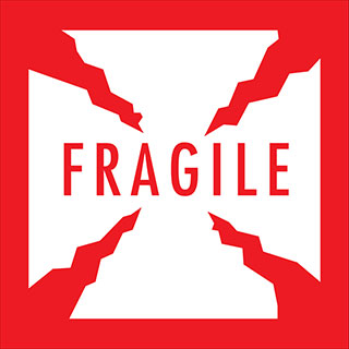 Fragile (with Cracks) 4 x 4 Warning Label