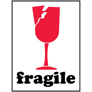 Fragile (broken wine glass) - International Safe Handling Label