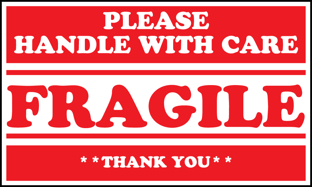 "Fragile Please Handle With Care 5"" x 3"" Shipping Labels ..."