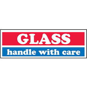 Glass Handle With Care Shipping Mailing label