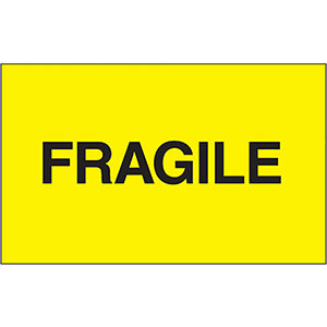 3x5 Yellow Fragile Labels