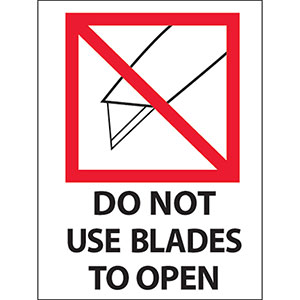 Do Not Use Blades to Open Labels