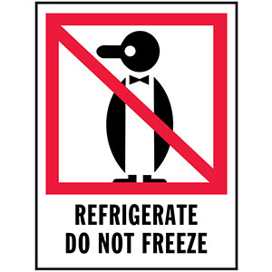REFRIGERATE DO NOT FREEZE - International Safe Handling Label