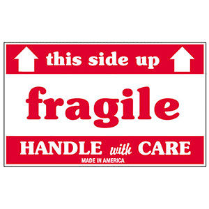 3x5 Fragile This Side Up Labels