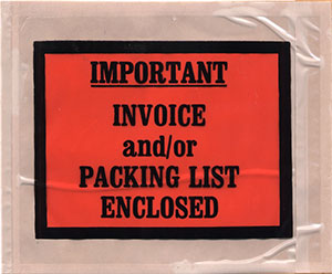 4-1/2 x 5-1/2 Full Face IMPORTANT INVOICE and/or PACKING LIST ENCLOSED Packing List Envelope Back Loading