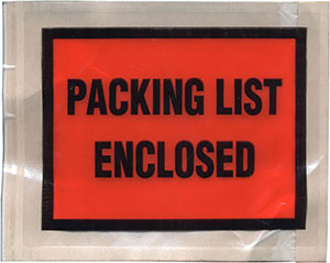 Packing List Envelope Packing List Enclosed 4.5 x 5.5 Full Face