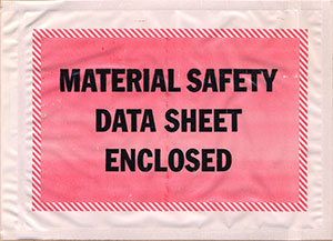 Packing List Envelope Material Safety Data Sheet Enclosed 4.5 x 6 Full Face