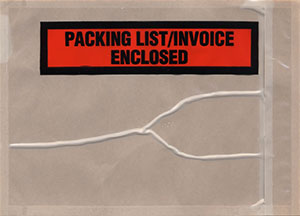4-1/2x6 Packing List Envelope Panel Packaging List / Invoice Enclosed Bottom Printed Back Loading