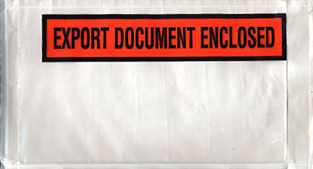 5-1/2 x 10 Packing List Env Panel EXPORT DOCUMENT ENCLOSED Back Loading