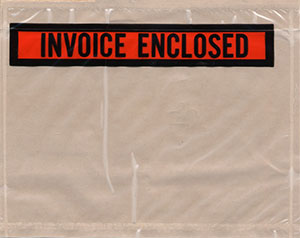 7 x 5-1/2 Packing List Envelope INVOICE ENCLOSED Top Loading Panel