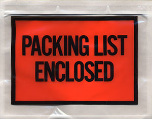 7x5.5 Packing List Envelope PACKING LIST ENCLOSED Full Face Top Loading