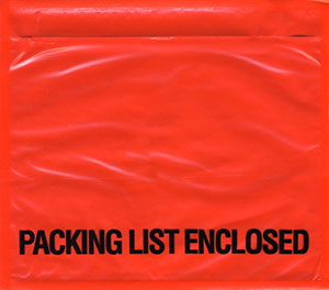 7x6 Packing List Envelope PACKING LIST ENCLOSED Bottom Printed Top Loading