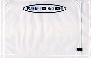 5.25x8 Packing List Envelope Panel PACKING LIST ENCLOSED Clear Back Loading