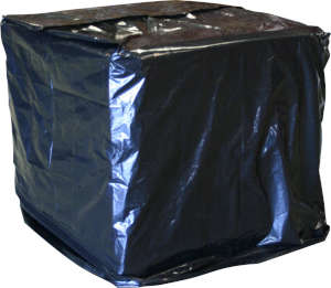 51 x 49 x 73 3 Mil Gusseted UVI Black Opaque Pallet Cover on Roll