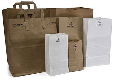 White and Kraft Paper Grocery Bags
