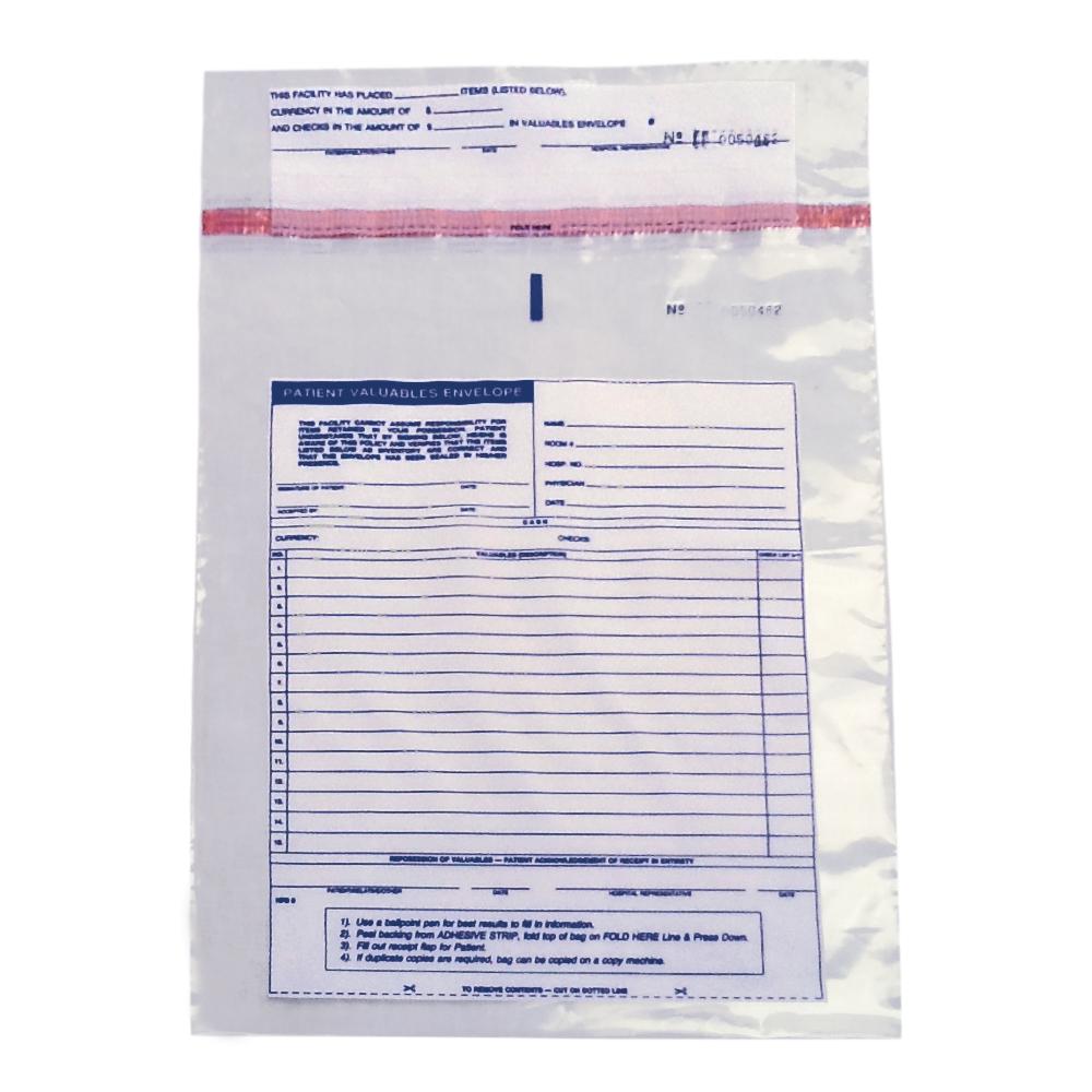 10 x 13 3 mil patient belonging bags patient valuables envelope
