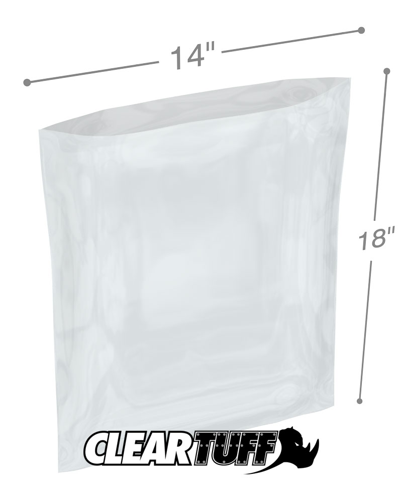 14x18 2MIL POLY BAGS CLEAR Flat Open Top Plastic Packaging Packing LDPE
