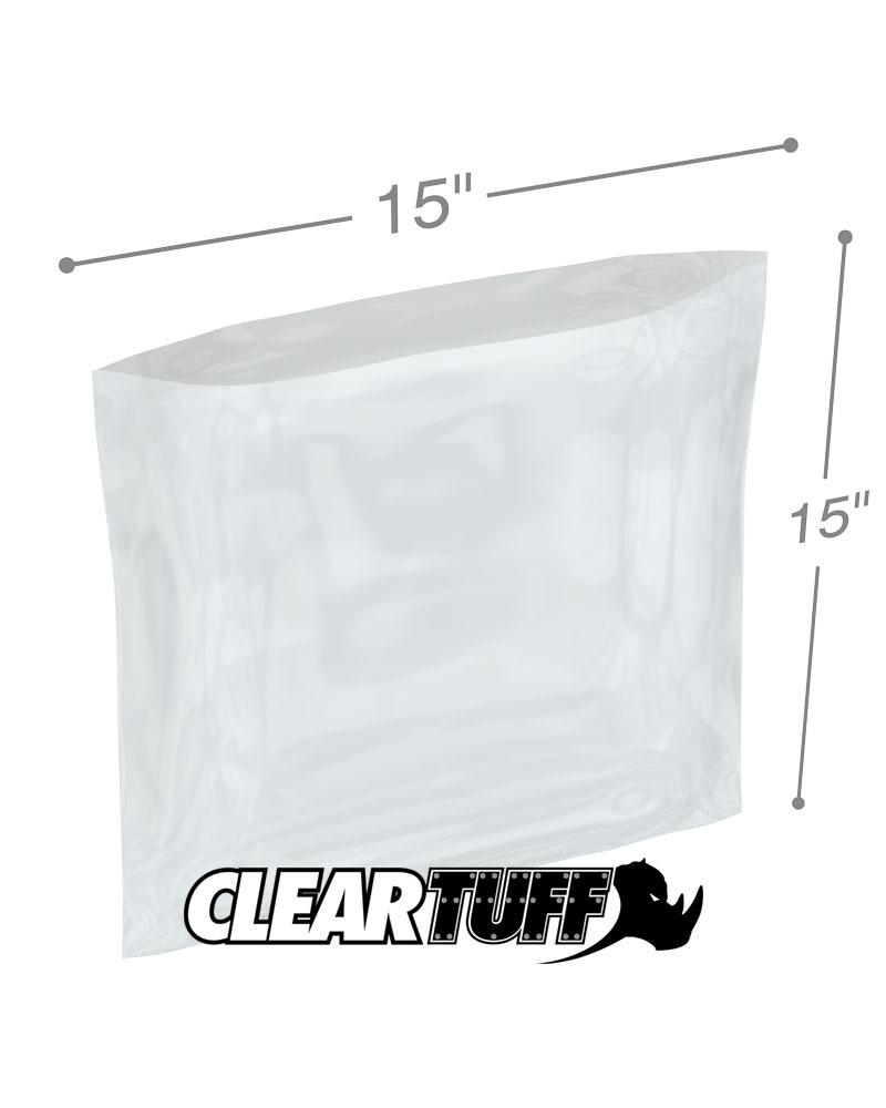 15x15 Clear Poly Bags 1Mil Flat Open Top Plastic Packaging Packing LDPE