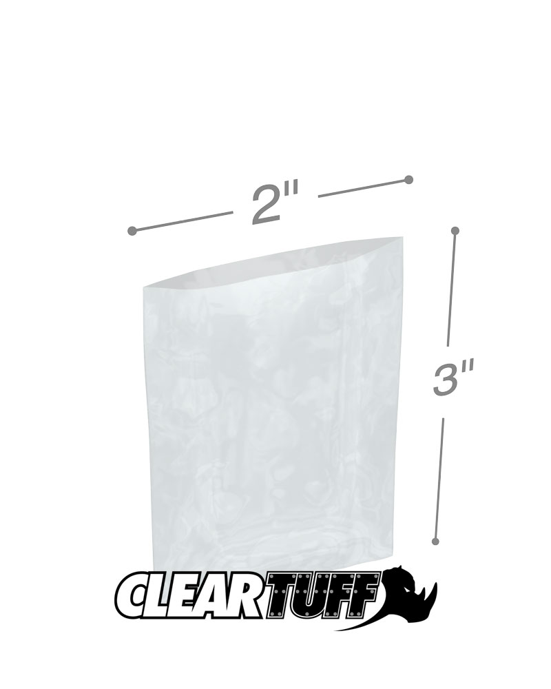 """100 2 X 3/"""" 3 Mil Lay Flat Top Open Poly Bags"""