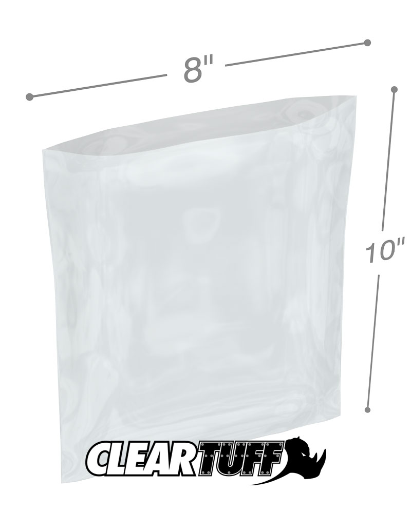 8x10 2MIL POLY BAGS CLEAR Flat Open Top Plastic Packaging Packing LDPE