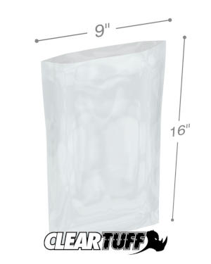 9 in x 16 in 1.25 Mil Poly Bags