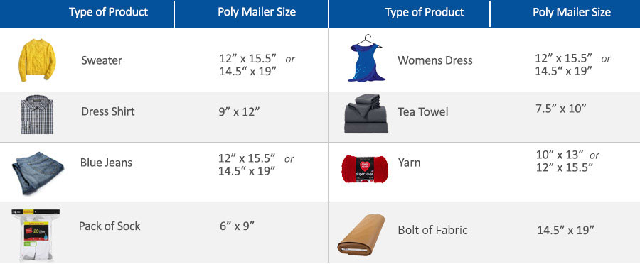poly mailer sizes