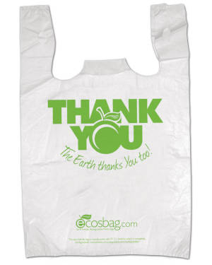 Earth Friendly Printed 11 1/2 inch x 3 inch x 21 inch Thank You T-Shirt Bags