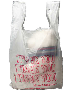 Printed 11 1/2 inch x 3 inch x 21 inch Thank You High Density  T-Shirt Bags