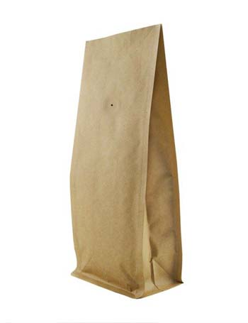16 oz Block Bottom Side Gusset Bags with valve with KRAFT ALU LLDPE
