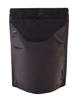 16 oz Metalized Stand Up Pouch Black BOPP/VMPET/LLDPE