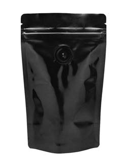 2 oz Stand Up Pouch with valve Black PET/ALU/LLDPE