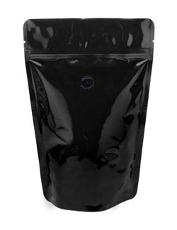 4 oz Stand Up Pouch with valve Black PET/ALU/LLDPE