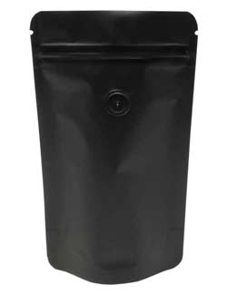 2 oz Stand Up Pouch with valve Matte Black MBOPP/PET/ALU/LLDPE