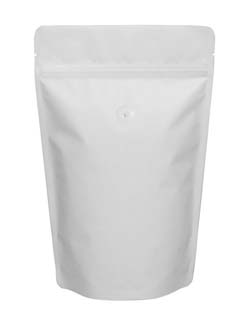 16 oz Stand Up Pouch with valve Matte White MBOPP/PET/ALU/LLDPE