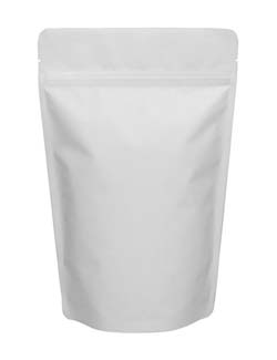 8 oz Stand Up Pouch Matte White MBOPP/PET/ALU/LLDPE