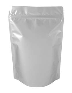 16 oz Metalized Stand Up Pouch Silver BOPP/VMPET/LLDPE