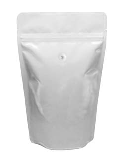 8 oz Stand Up Pouch with valve White PET/ALU/LLDPE